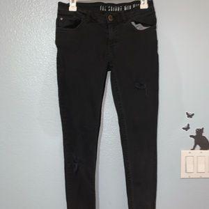 Pants - black mid rise skinny jeans